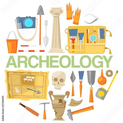 Archaeology icon set banner vector illustration Canvas Print