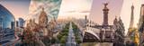 Fototapeta Do pokoju - Paris famous landmarks collage