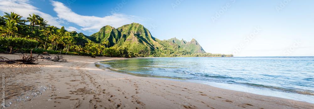 Fototapeta Tunnels Beach Panorama - Haena, Kauai Hawaii