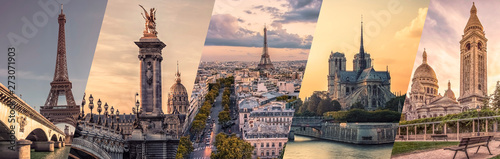 Photo  Paris famous landmarks collage