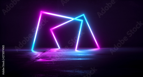 Futuristic Sci-Fi Abstract Blue And Purple Neon Light Shapes On Black Background And Reflective Concrete With Empty Space For Text 3D