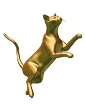 Fantasy Illustration Of A Statue Of A Gold Siamese Cat Leaping In The Air, 3d Digitally Rendered Illustration