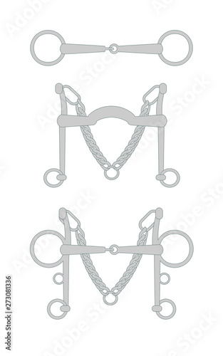 Valokuva Vector flat cartoon set collection of horse equestrian bit snaffle isolated on w