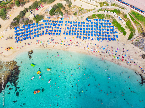 Photo Stands Cyprus Top view of the city of Cyprus and the city of Ayia NAPA. Air view of the resort Mediterranean coastal city.