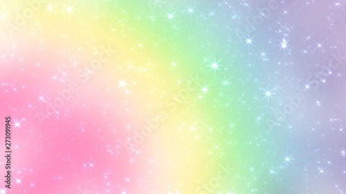 Holographic Abstract Kawaii universe princess colors Fantasy Pastel Fairy rainbow stars and blurs background.