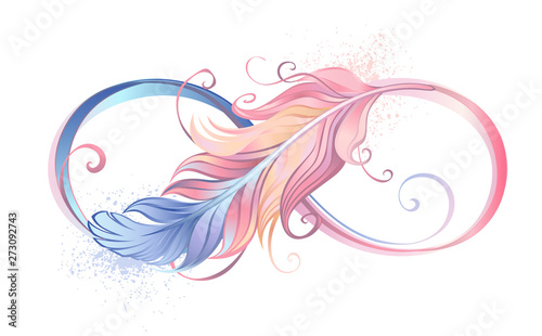 Vászonkép Infinity symbol with pink feather