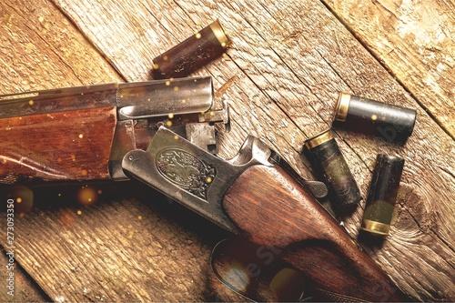 Vintage rifle and sleeves o...