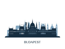 Budapest Skyline, Monochrome S...