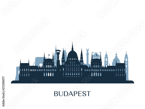 Budapest skyline, monochrome silhouette. Vector illustration. Wallpaper Mural