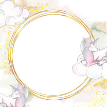 Watercolor Handpainted Gold Frame With Unicorns, Clouds, Texture