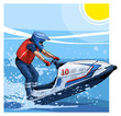 Vector illustration of a man riding personal watercraft. Beautiful sport themed poster. Water sports, extreme sports, sea, ocean, summer vacation, water scooter