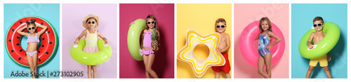 Fotografie, Obraz Set of cute little children with bright inflatable rings on color background