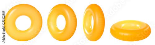 Fotografie, Obraz Set of bright inflatable rings on white background
