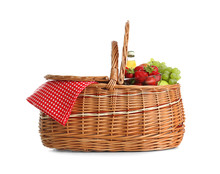 Picnic Basket With Fruits And ...