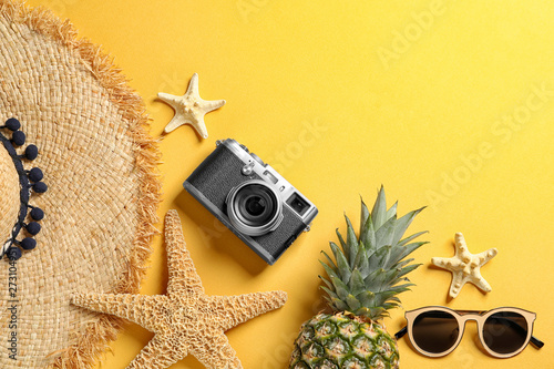 Fotografie, Obraz  Flat lay composition with beach accessories on color background