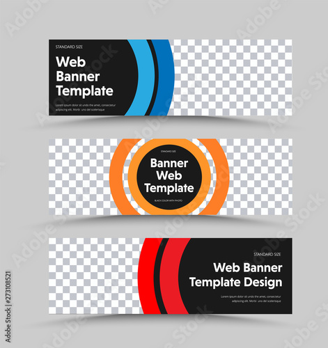 Fotografía  Design black vector horizontal web banners with place for photo and color round design elements