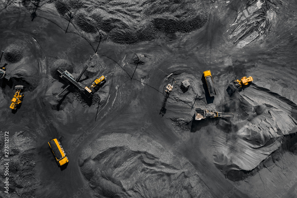 Fototapeta Open pit mine, extractive industry for coal, top view aerial drone