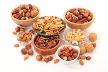 Assorted Of Nuts In Bowl Isola...