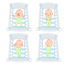 Cute Little Baby In Bed. Set Of Illustrations.