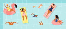 Hand Drawn Vector Illustration With Happy Young People In The Pool, Swimming, Sunbathing, Floating. Flat Style Design. Concept, Element For Summer Poster, Banner, Background.