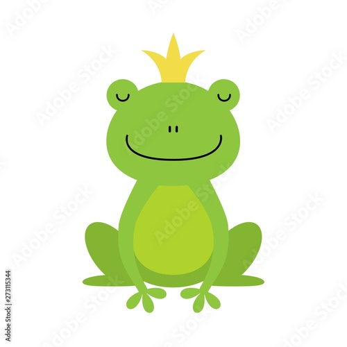 Cute little frog prince with a golden crown on its head illustration Tableau sur Toile