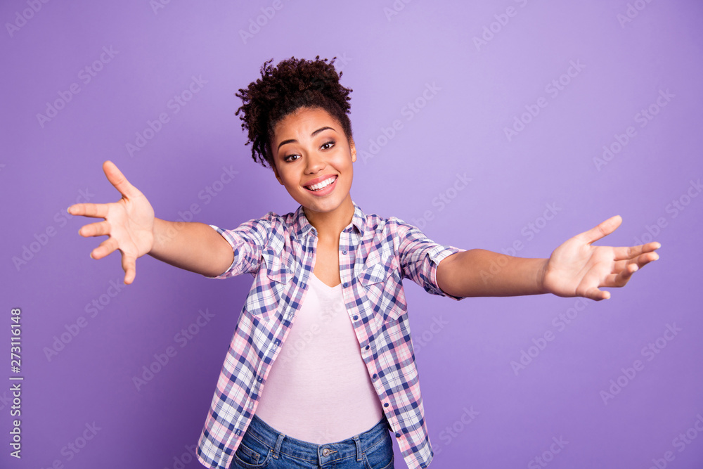 Fototapety, obrazy: Portrait of funny cute charming friendly lady cuddle friend feel excited enjoy content glad want see him her dressed checked shirts isolated on purple background