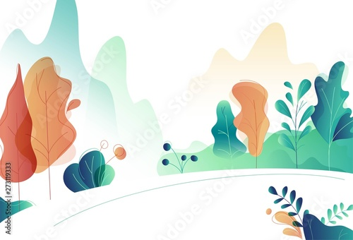 Beautiful natural scenery of mountains, forest and river. Vector illustration