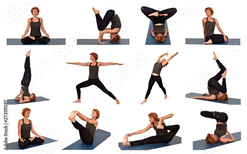Collage of pictures with the woman in different yoga poses isolated on the white background