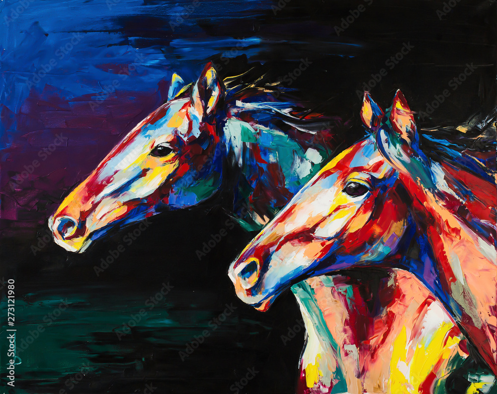 Fototapeta Oil horse portrait painting in multicolored tones. Conceptual abstract painting of a horses. Closeup of a painting by oil and palette knife on canvas.