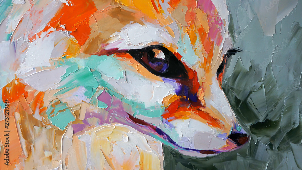 Fototapeta Oil fox portrait painting in multicolored tones. Conceptual abstract painting of a fennec muzzle. Closeup of a painting by oil and palette knife on canvas.