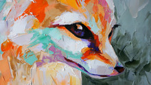 Oil Fox Portrait Painting In Multicolored Tones. Conceptual Abstract Painting Of A Fennec Muzzle. Closeup Of A Painting By Oil And Palette Knife On Canvas.
