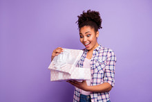 Portrait Of Funny Funky Youth Hold Hand Gift With White Ribbon Open Impressed By Unexpected Dream Incredible Wonder 8-march 14-february Wear Top-knot Checkered Shirt Isolated On Purple Background