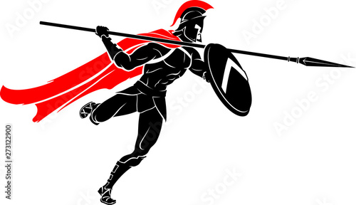 Photo Spartan Spear Lunge Attack, Isolated Vector