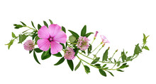 Wild Pink Flowers And Green Grass In A Wave Floral Arrangement