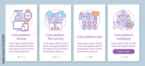 Fotografia Multiplayer game onboarding mobile app page screen with linear concepts