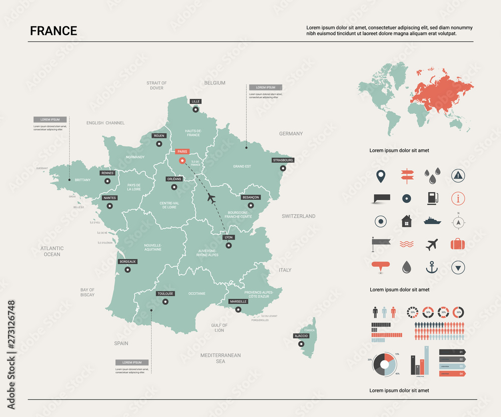 Fototapety, obrazy: Vector map of France. Country map with division, cities and capital Paris. Political map,  world map, infographic elements.