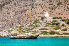 29 May 2019, Symi Island, Greece: The Modern Yacht Stylized To The Retro Two-masted Vessel Brig For Entertainment And Transportation Of Tourists
