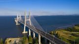 Aerial photo of Vasco da Gama Bridge, Lisbon, Portugal. Lisbon view