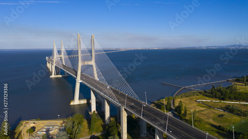 Aerial photo of Vasco da Gama Bridge, Lisbon, Portugal Wallpaper Mural