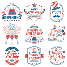 Set Of Vintage 4th Of July Design. Fourth Of July Felicitation Classic Postcard. Independence Day Greeting Card. Patriotic Banner For Website Template. Vector Illustration.