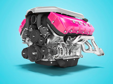 Car Engine Cast Iron Magenta With Starter Isolated 3d Render On Blue Background With Shadow