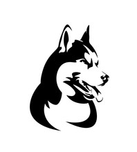 Purebred Siberian Husky Portrait - Black And White Dog Head Vector Design