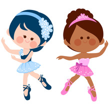 Vector Illustration Of Two Cute Ballerina Dancer Girls.
