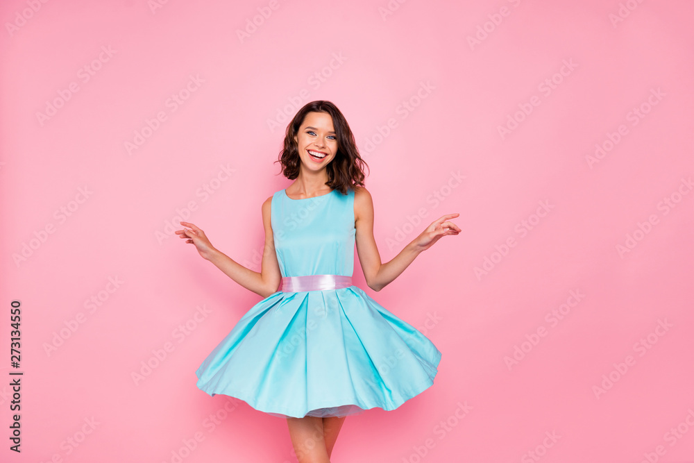 Close up photo beautiful amazing she her dancing prom queen lady wind air flight blow air skirt graduation party toothy wear cute shiny colorful dress isolated pink bright vivid vibrant background