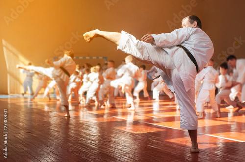 Obrazy Sztuki Walki  trening-dzieci-na-karate-do-baner-z-miejscem-na-tekst-do-stron-internetowych-lub-reklam-druk