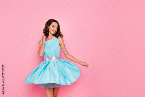 Fototapeta Close up photo beautiful amazing she her dancing prom queen lady wind air flight blow air skirt graduation party toothy wear cute shiny colorful dress isolated pink bright vivid vibrant background obraz na płótnie
