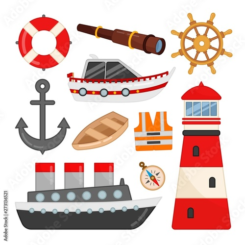 Fotografie, Obraz Vector set of icons on the marine theme