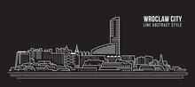 Cityscape Building Line Art Vector Illustration Design - Wroclaw City
