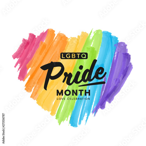 Cuadros en Lienzo LGBTQ pride month banner text on colorful rainbow Heart Paint brush style vector