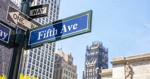 Fotomural 5th ave, Manhattan New York downtown. Blue color street signs,